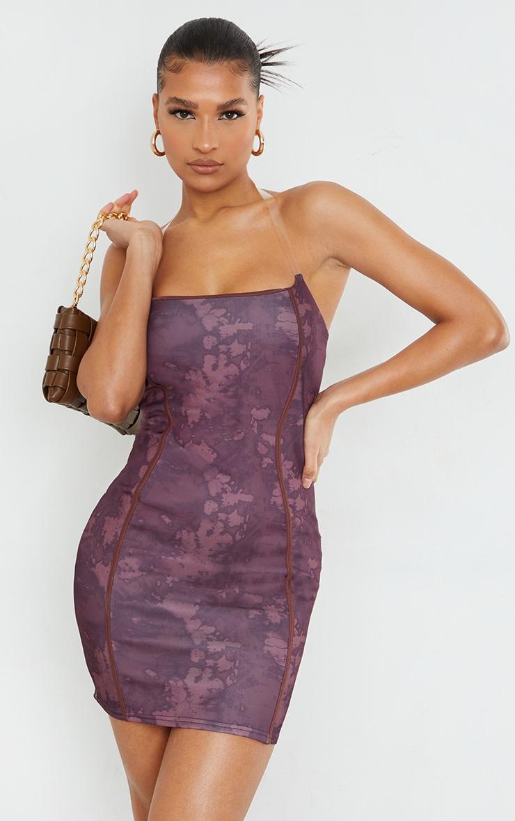 Brown Tie Dye Print Binded Detail Clear Strap Bodycon Dress 1