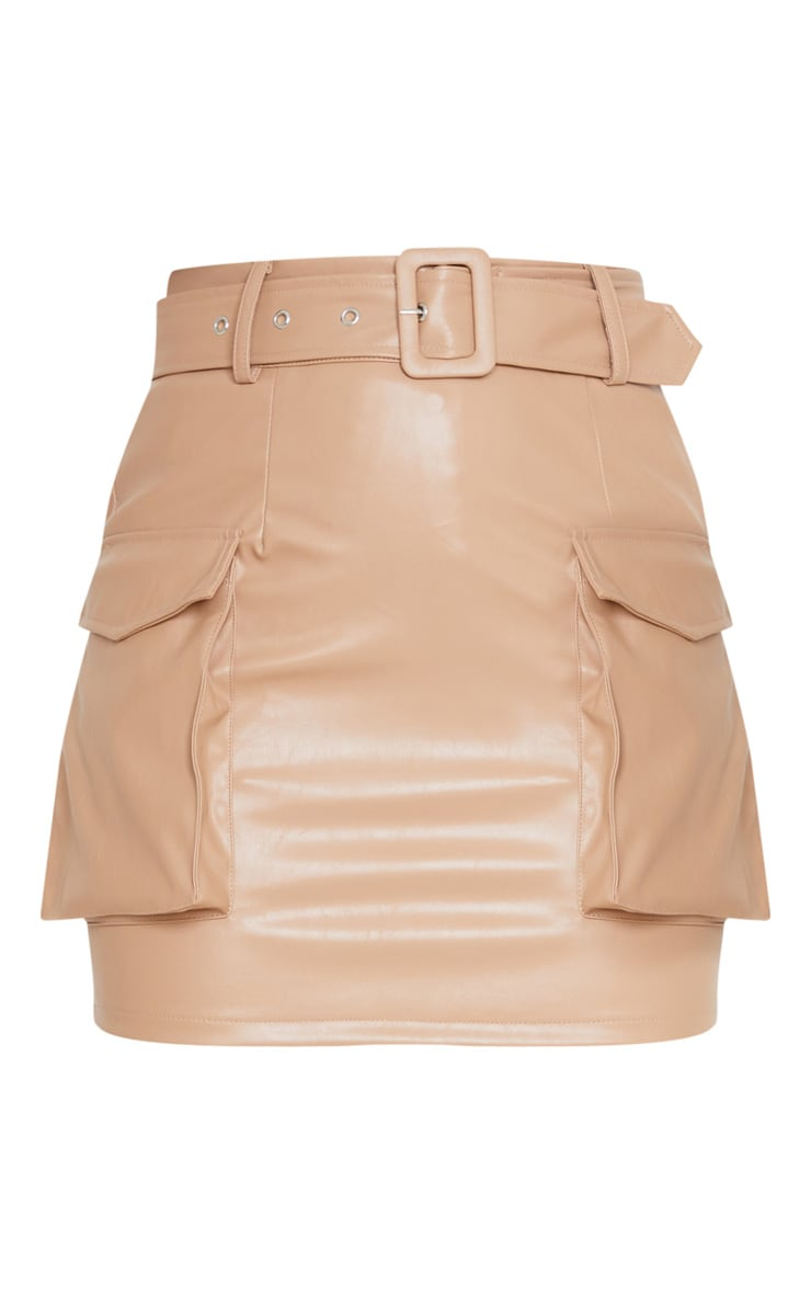 Camel Faux Leather Belted Cargo Pocket Mini Skirt 3