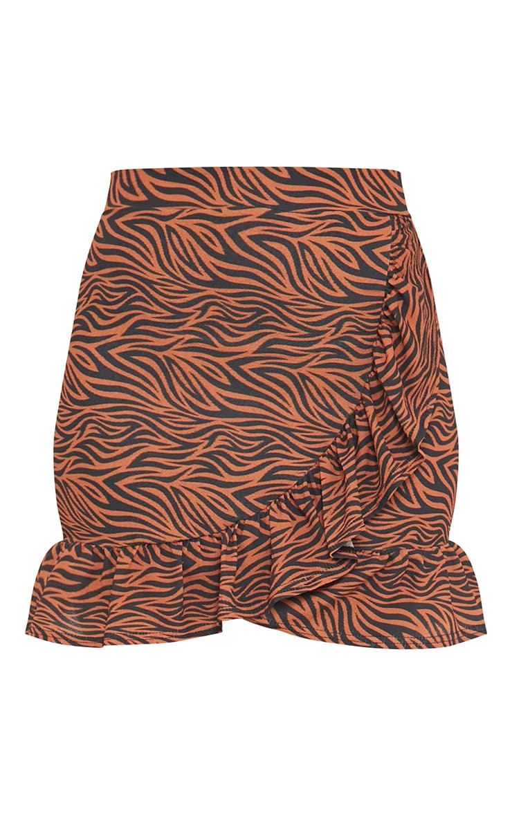 Rust Zebra Print Frill Hem Wrap Mini Skirt 6