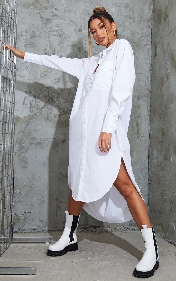 White Deep Pocket Drop Hem Midi Shirt Dress 1
