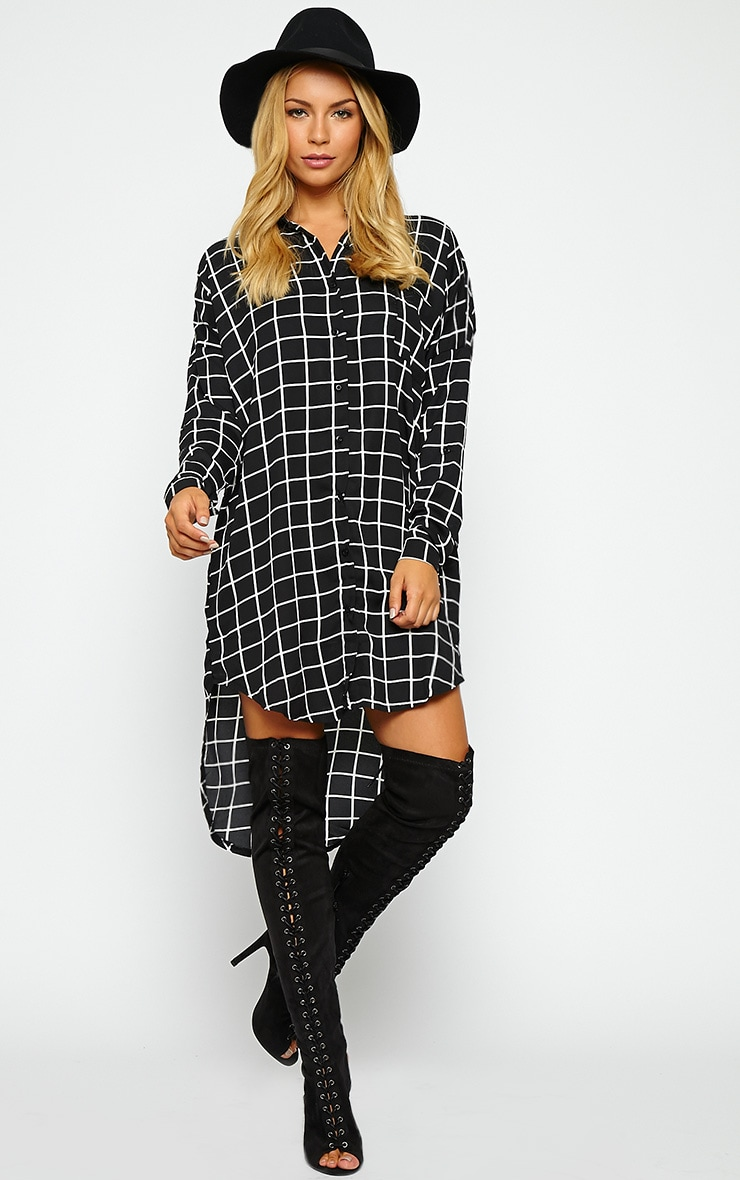 Rhona Black Check Shirt Dress 4