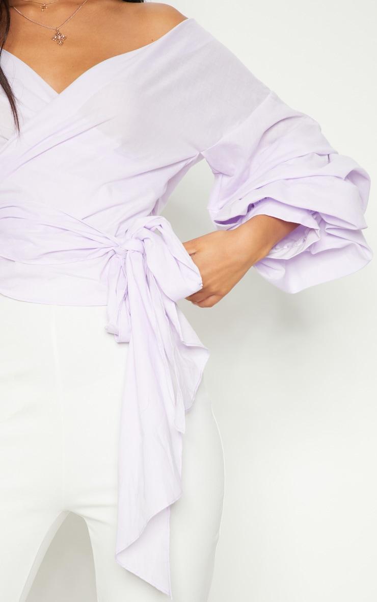 Lilac Marlow Oversized Ruffle Wrap Shirt  1
