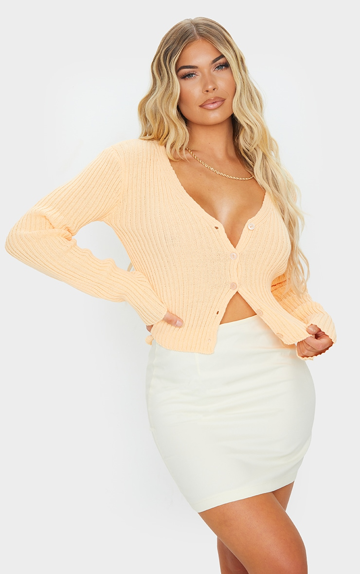 Peach Button Front Cardigan