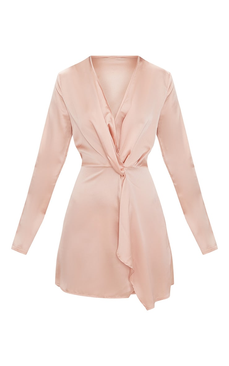 Nude Satin Long Sleeve Wrap Dress 3