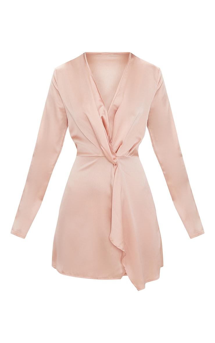 Nude Satin Long Sleeve Wrap Dress 4