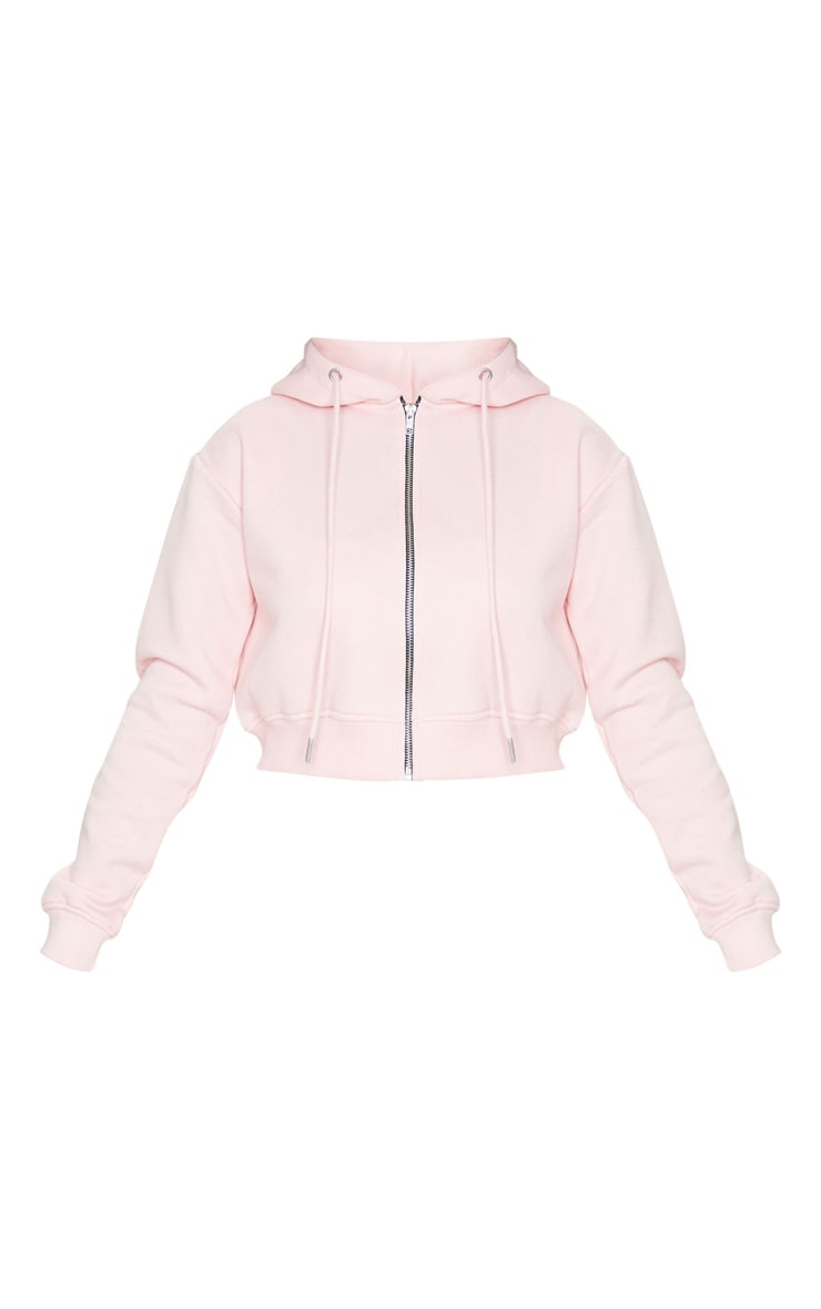 Hoodie court rose tendre à zipper 5