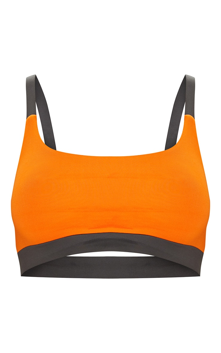Orange Caged Back Contrast Sports Bra 2