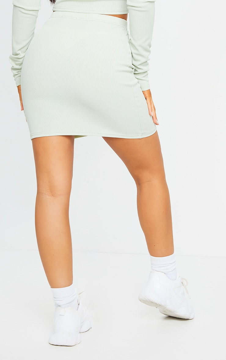 Sage Green Rib Popper Front Mini Skirt 3