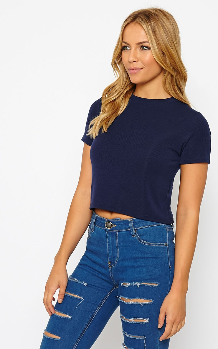 Basic Navy Short Sleeve Crop Top 4