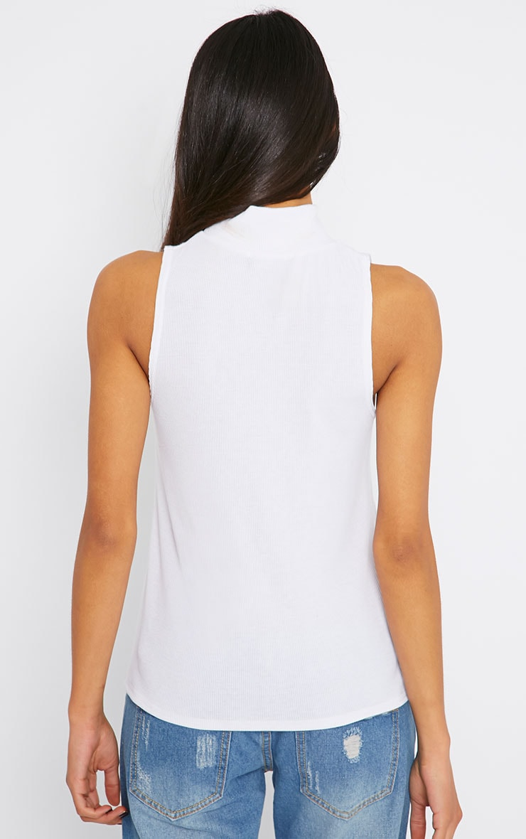 Basic White Sleeveless Turtle Neck Top 2