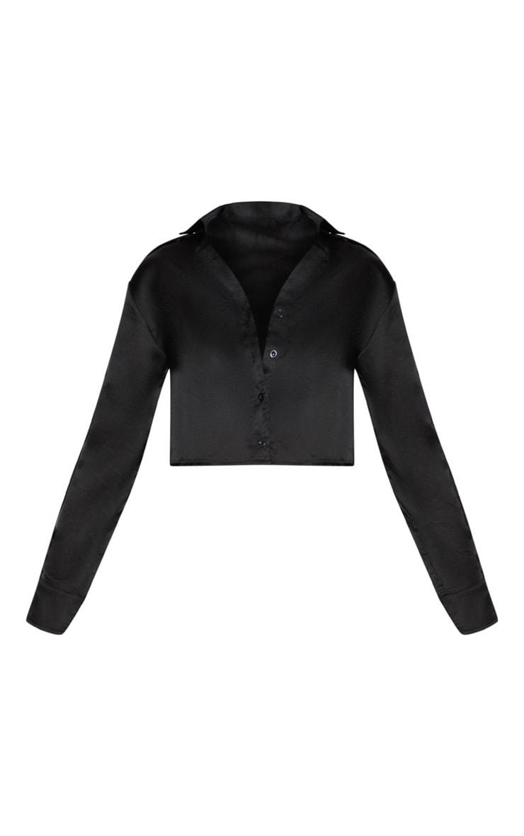 Black Satin Popper Sleeve Crop Shirt  3