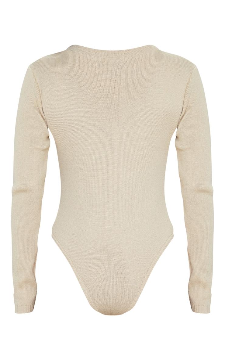 PRETTYLITTLETHING Stone Knitted Bodysuit 5