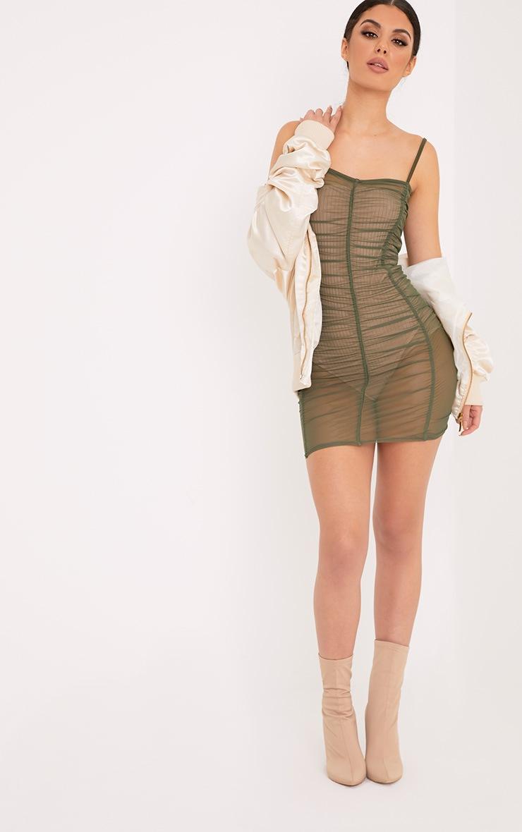 Anya Khaki Mesh Mini Dress 3