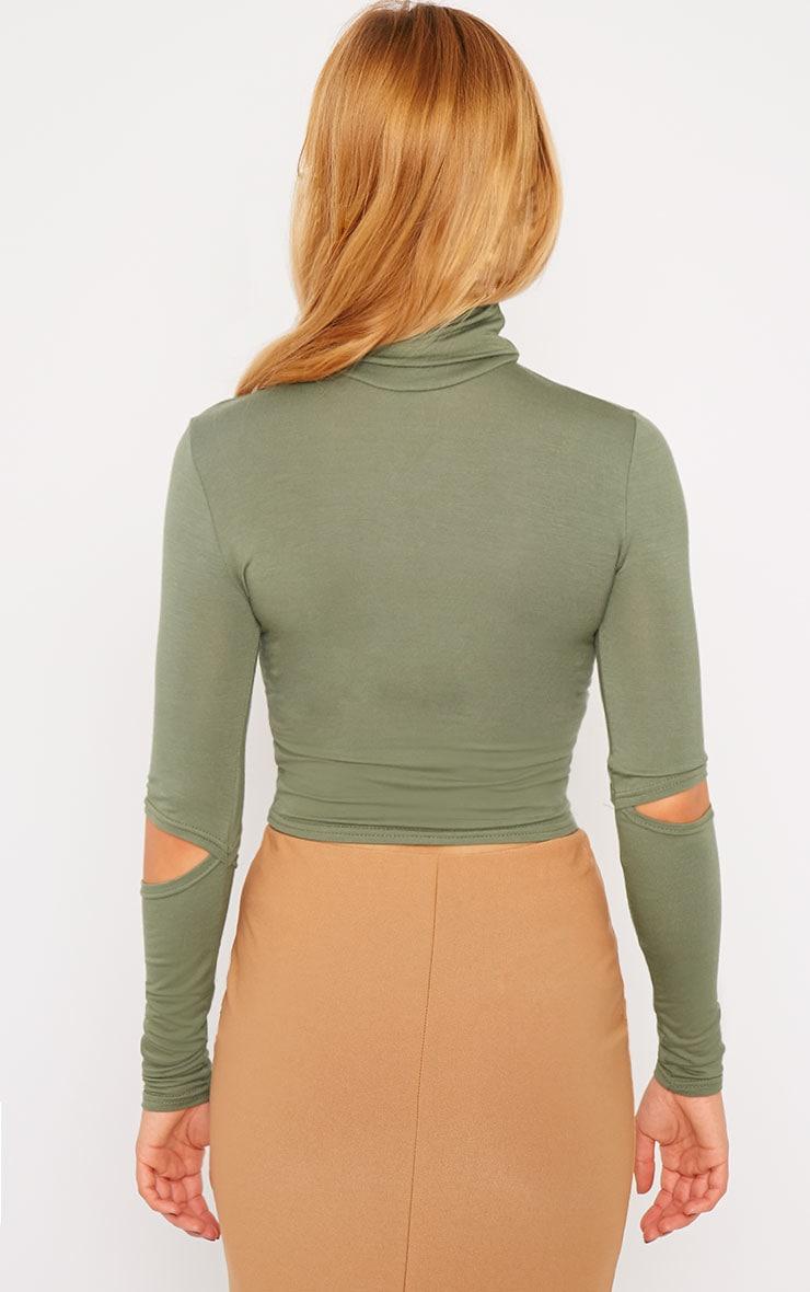Clara Khaki Split Sleeve Roll Neck Crop Top 2