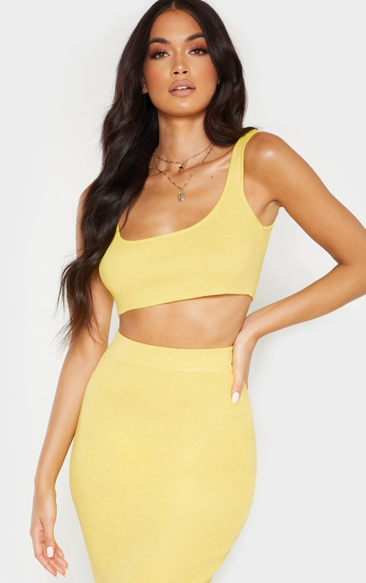 Yellow Knitted Ribbed Co Ord  4