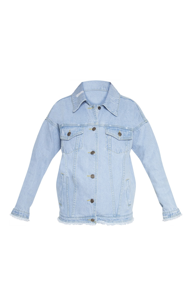 Petite Light Wash Distressed Oversized Denim Jacket 3