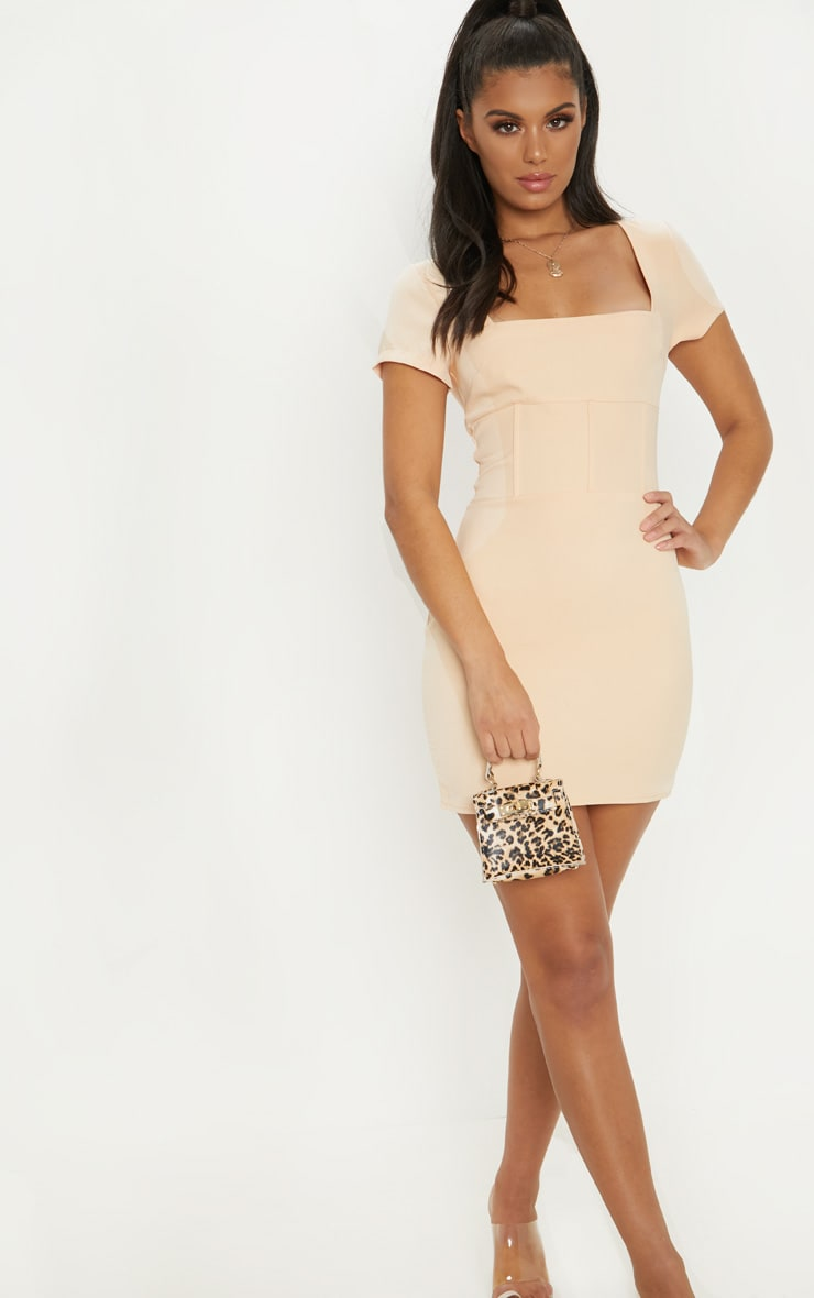 Nude Square Neck Basque Detail Bodycon Dress 4