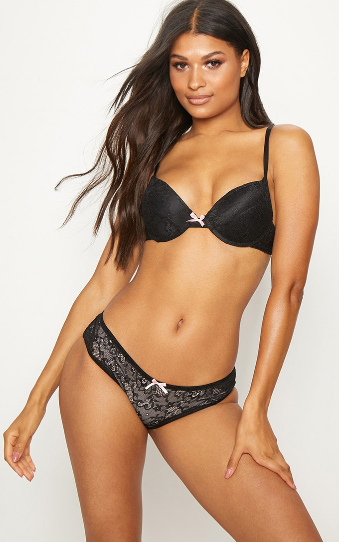 Black Lace Bow Detail Push Up Lingerie Set