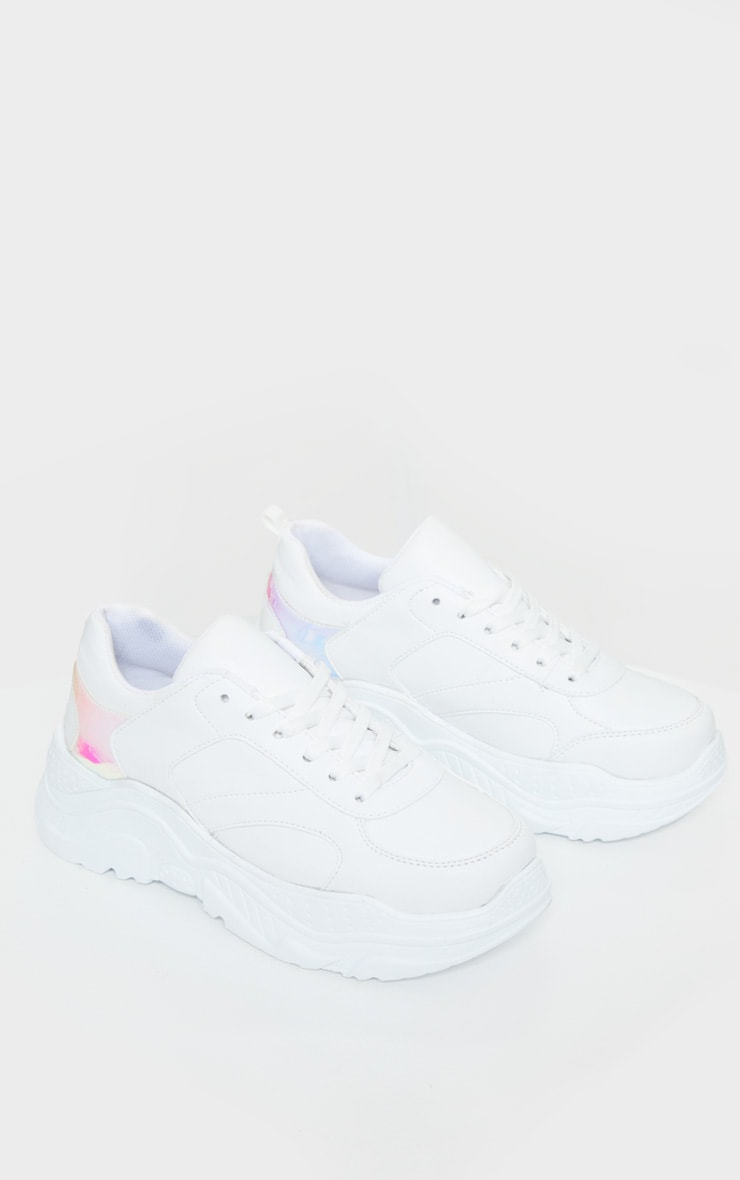 White Chunky Holographic Trim Sneakers 4