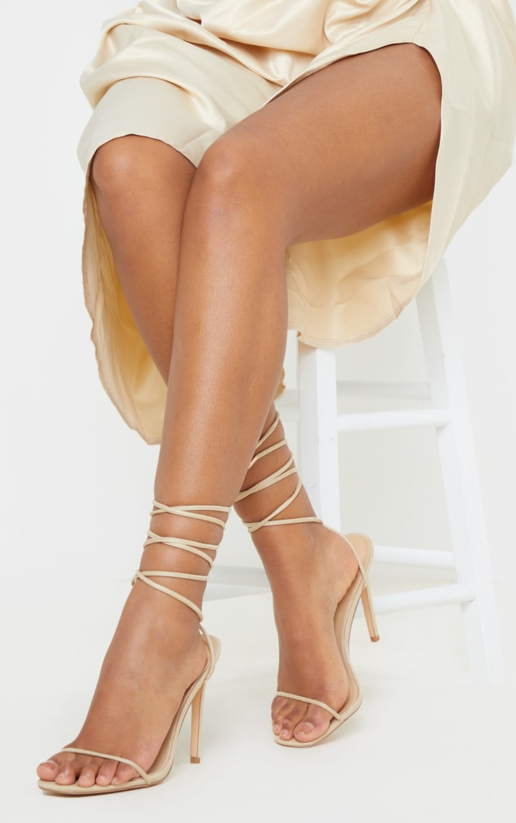 Nude Thin Strap Ankle Tie Strappy Sandal 1