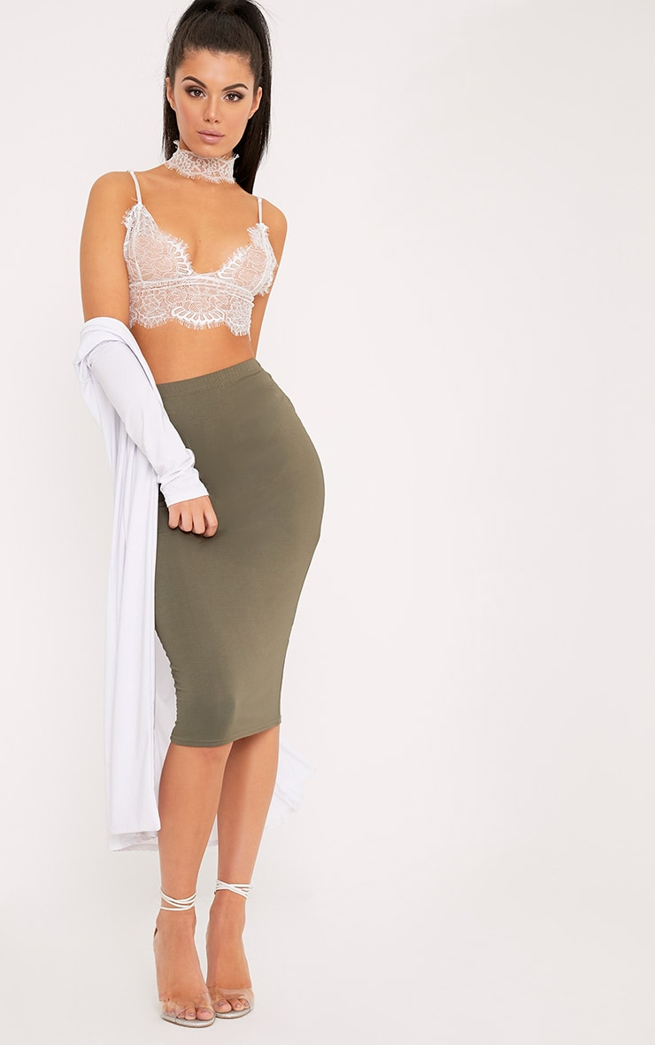 Basic Khaki Midi Skirt 1
