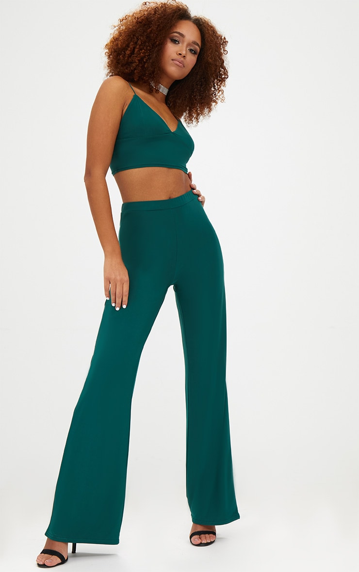 Forest Green Slinky Palazzo Trousers 1