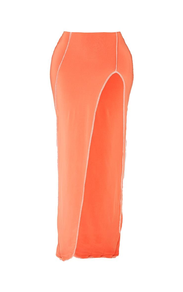 Shape Orange Slinky Split Front Maxi Skirt 5