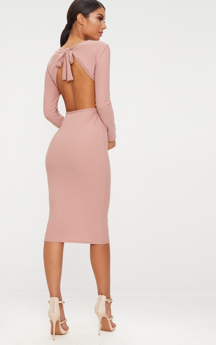 Dusty Pink Backless Bow Detail Midi Dress 1