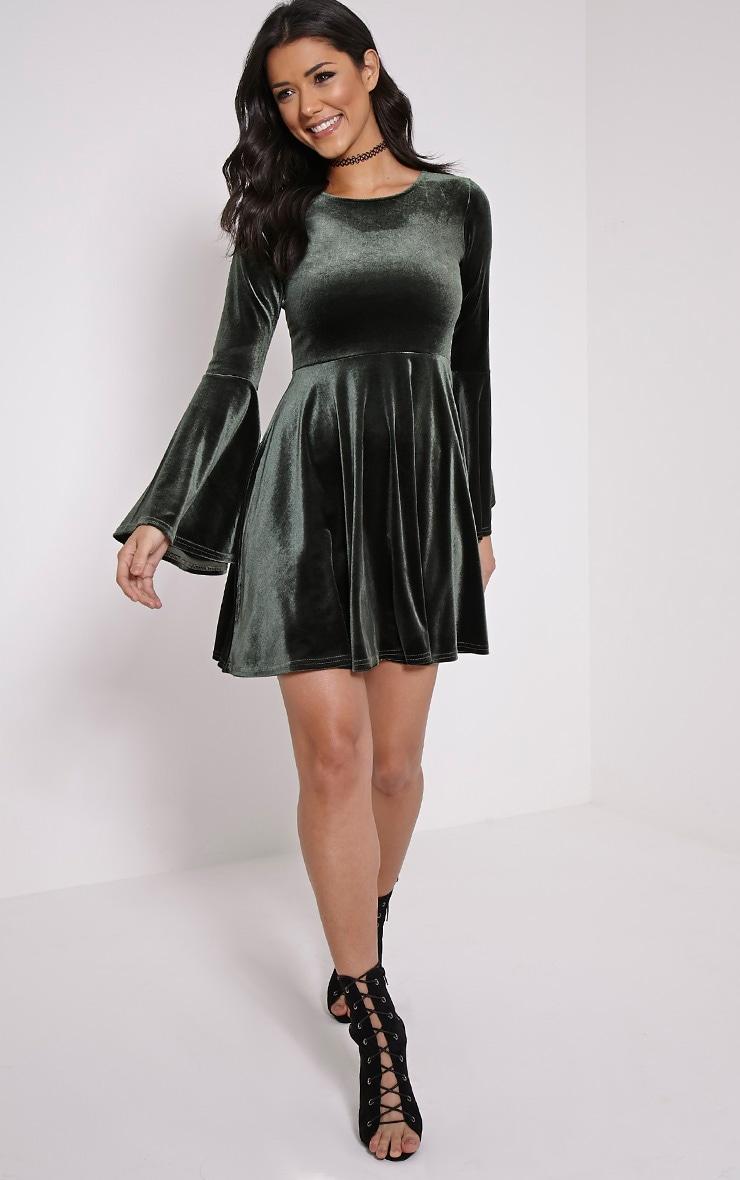 Aisha Khaki Velvet Bell Sleeve Skater Dress 3