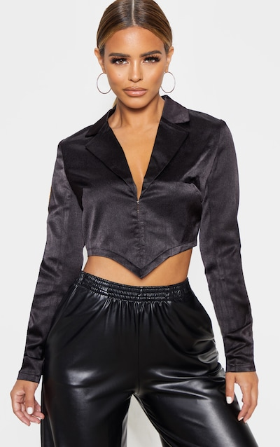 Petite Black Corset Detail Satin Cropped Jacket