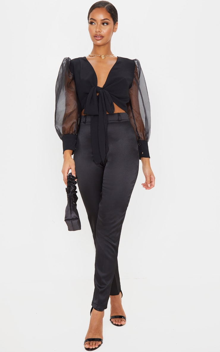 Black Sheer Puff Sleeve Tie Front Shirt 4