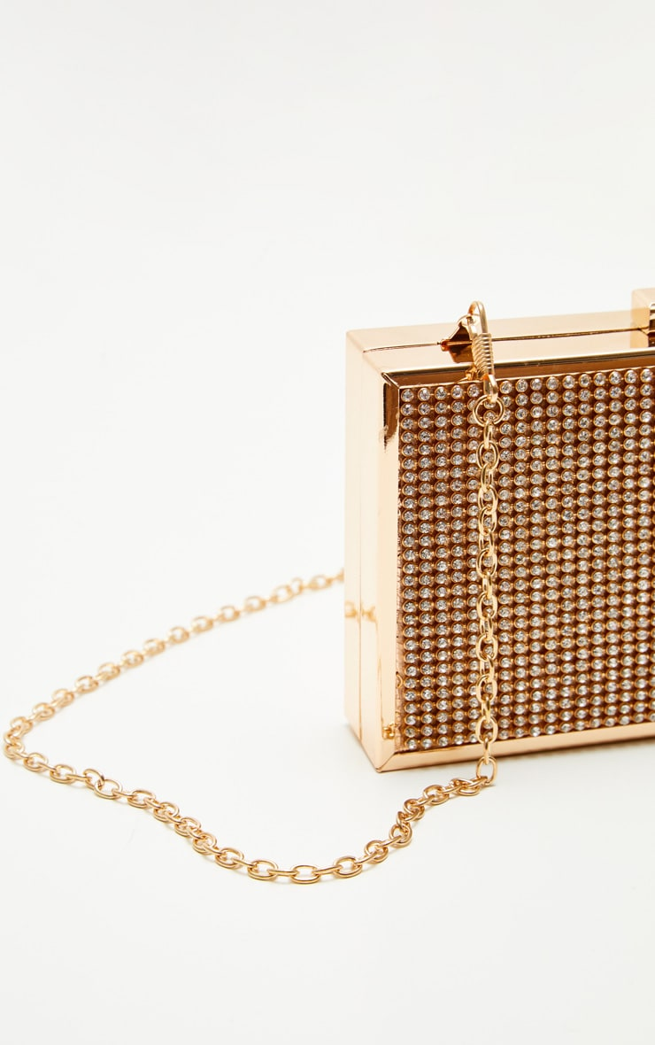 Gold Diamante Box Clutch 3