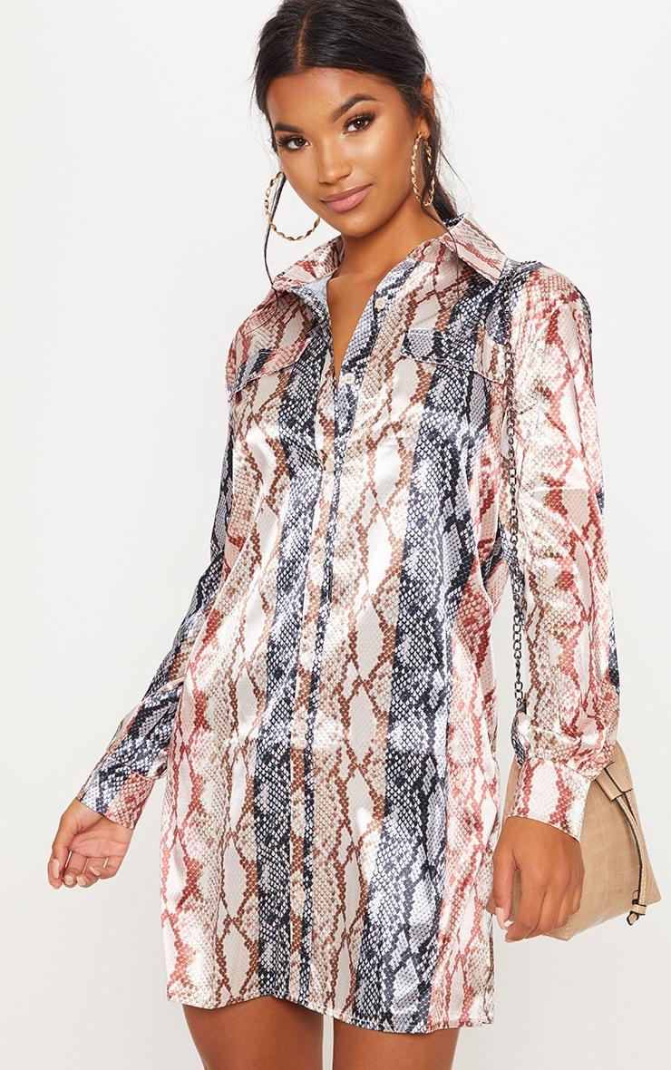 Multi Snake Print Satin Shirt Dress
