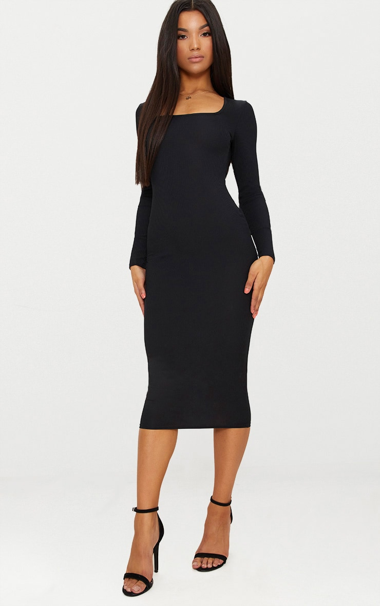 Black Ribbed Long Sleeve Midaxi Dress 1