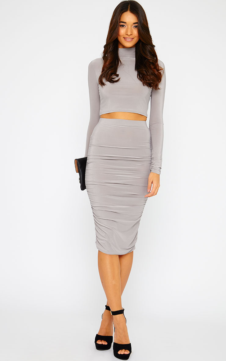 Saylor Grey Gathered Midi Skirt 1