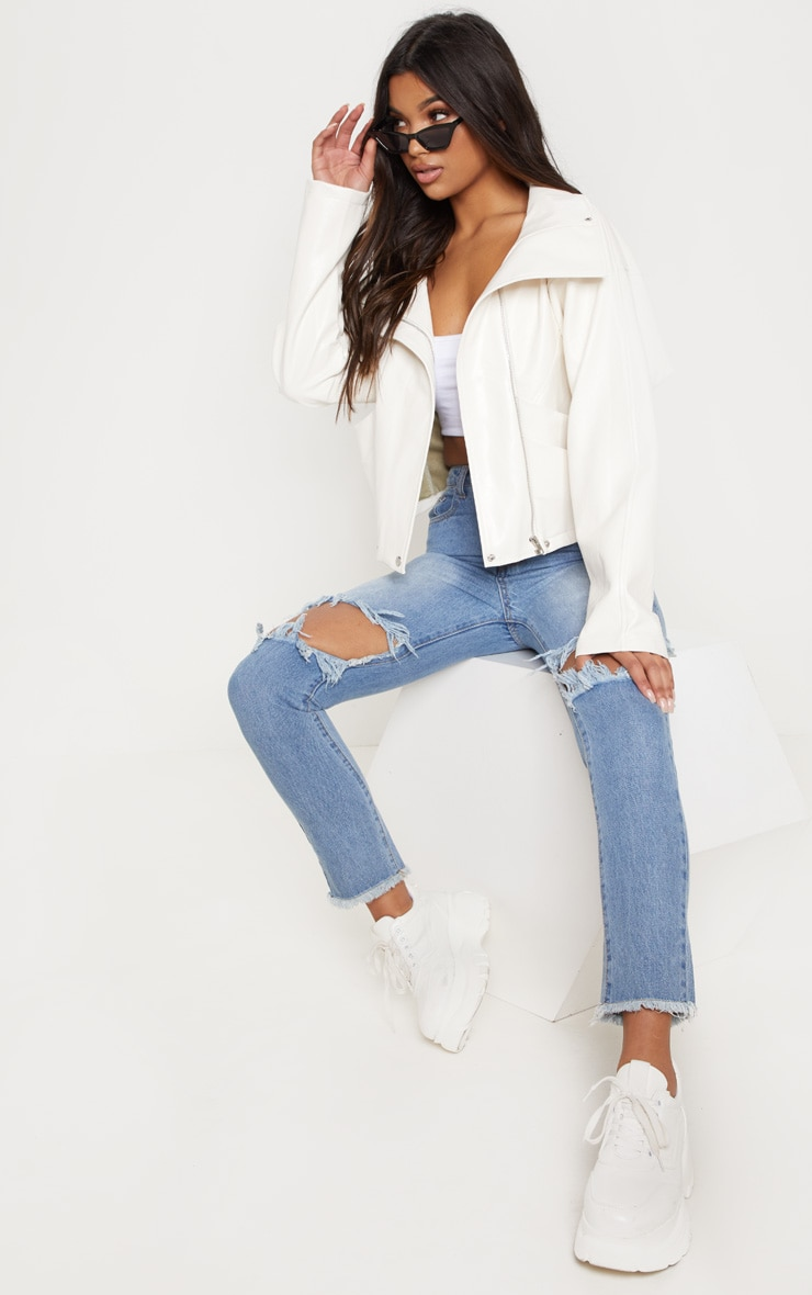 Cream Oversized PU Bomber  4