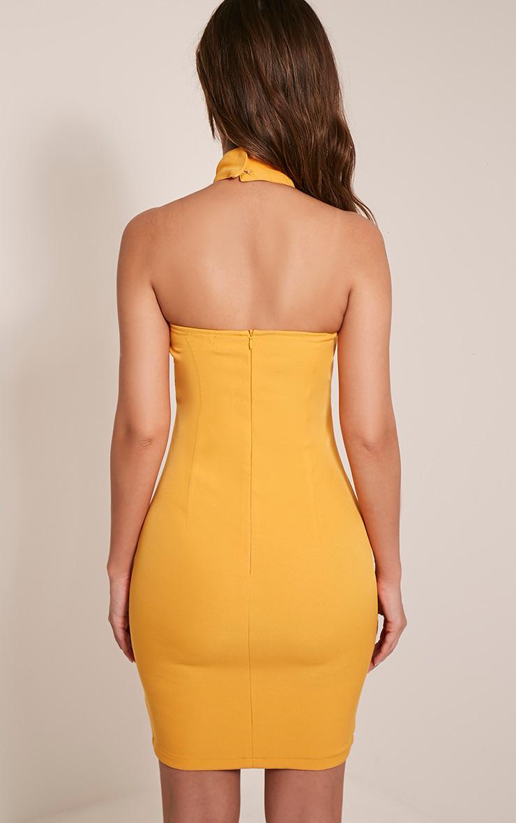 Milla Bright Orange Lace Up High Neck Bodycon Dress 2
