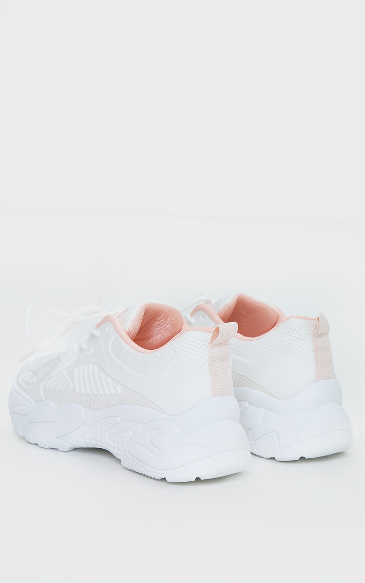 Pink Chunky Retro Sole Knitted Panel Detail Sneakers 4
