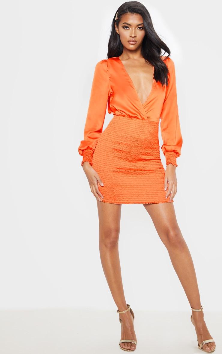 Orange Shirring Bodycon Dress 4