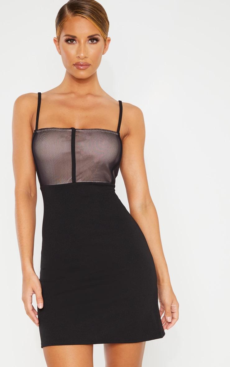 Black Mesh Panelled Insert Bodycon Dress 1