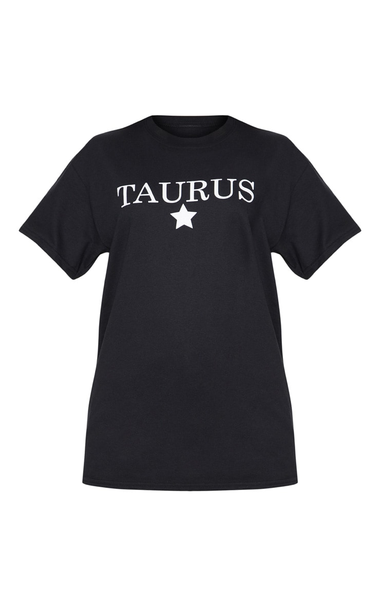 Black Taurus Star Sign Slogan Oversized T Shirt  3