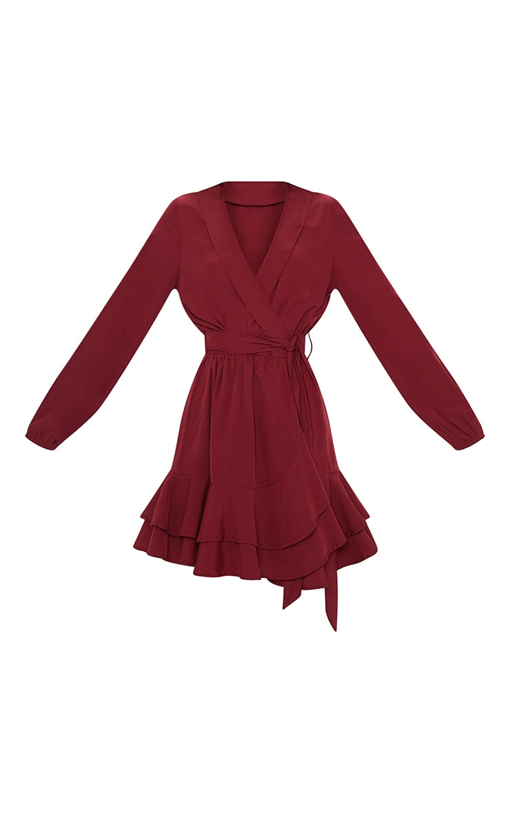Burgundy Tie Waist Frill Hem Dress 3