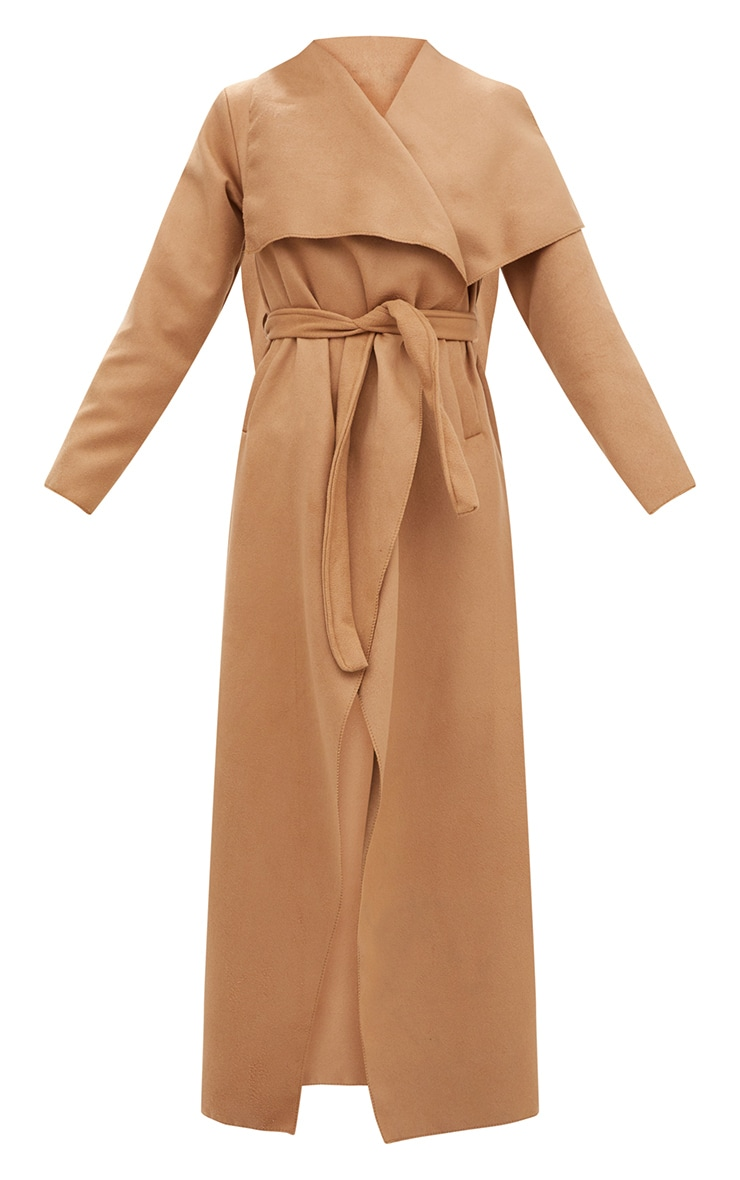 Camel Maxi Length Oversized Waterfall Belted Coat 3