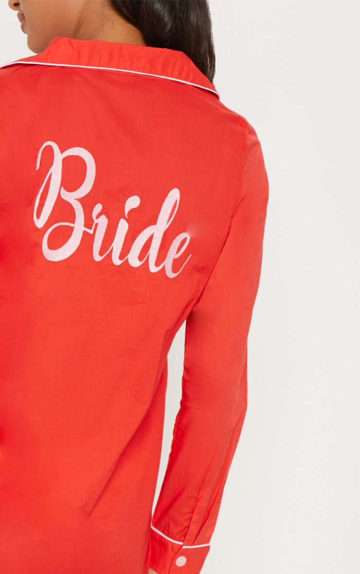 Red Bride Embroidered Back Piping Detail Nightshirt 6