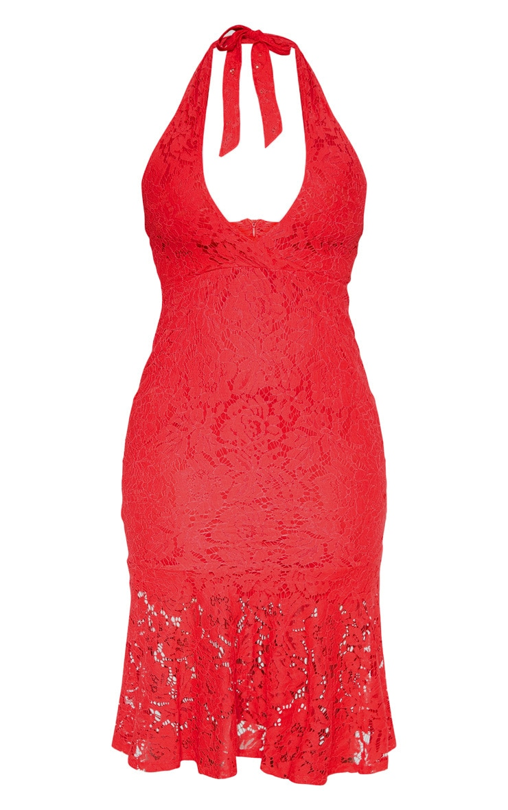 Red Lace Halter Midi Dress 3