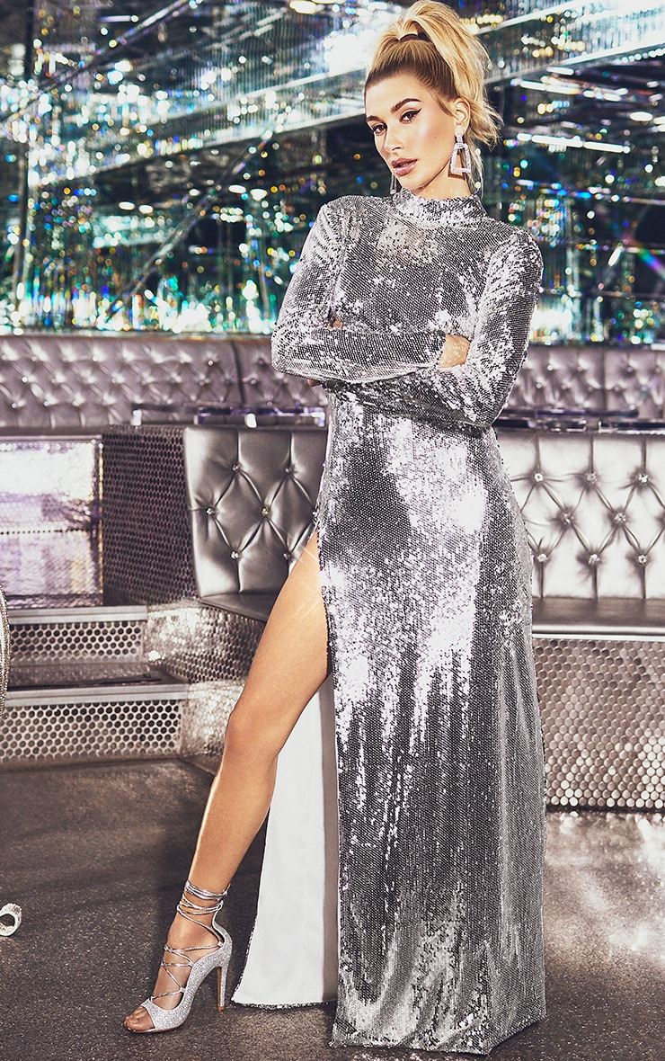 Silver Sequin Backless Maxi Dress 1