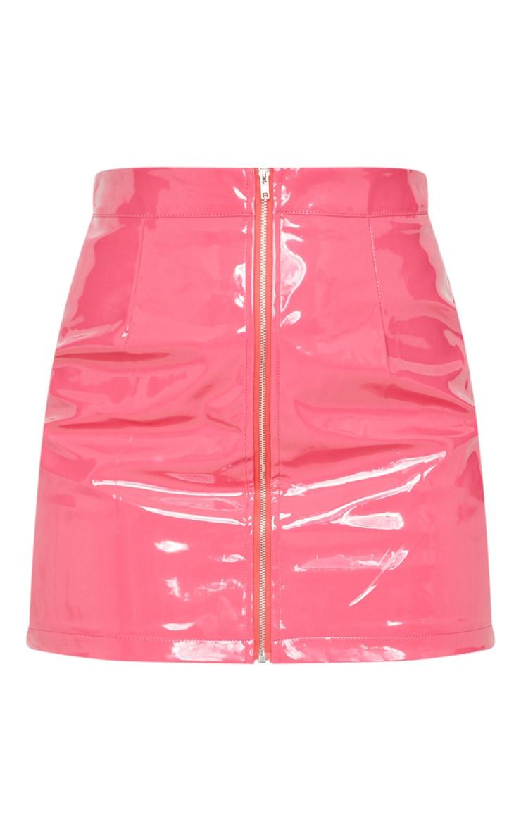 Hot Pink Vinyl Mini Skirt  3