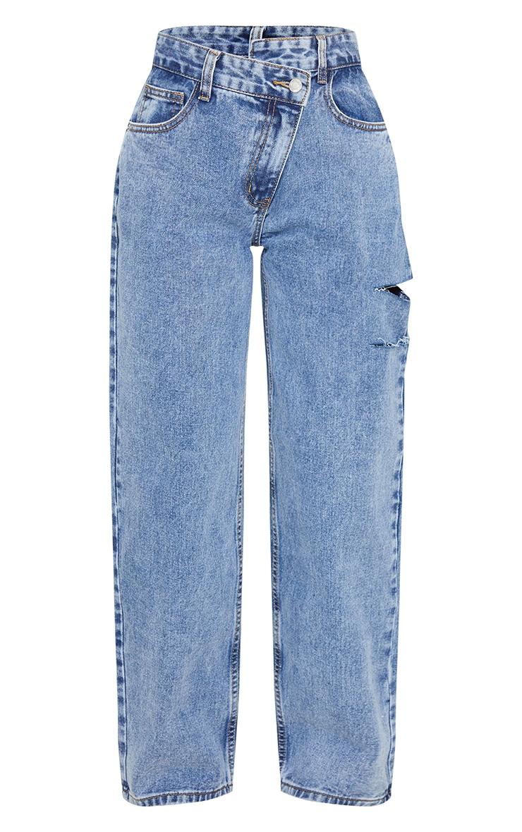Petite Vintage Wash Baggy Low Rise Asymmetric Waistband Thigh Split Boyfriend Jeans 5