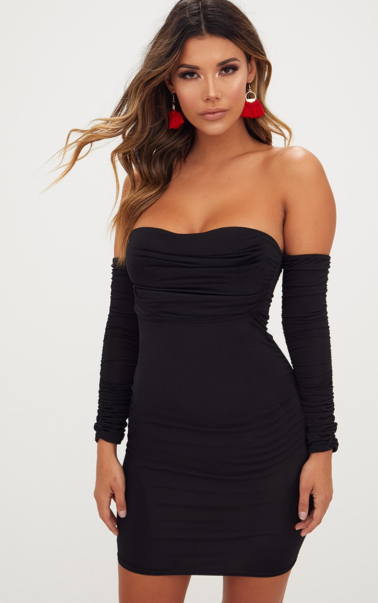 Black Ruched Front Ruched Arm Bardot Bodycon Dress 1