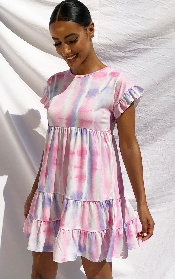 Purple Tie Dye Frill Sleeve Smock Dress 1